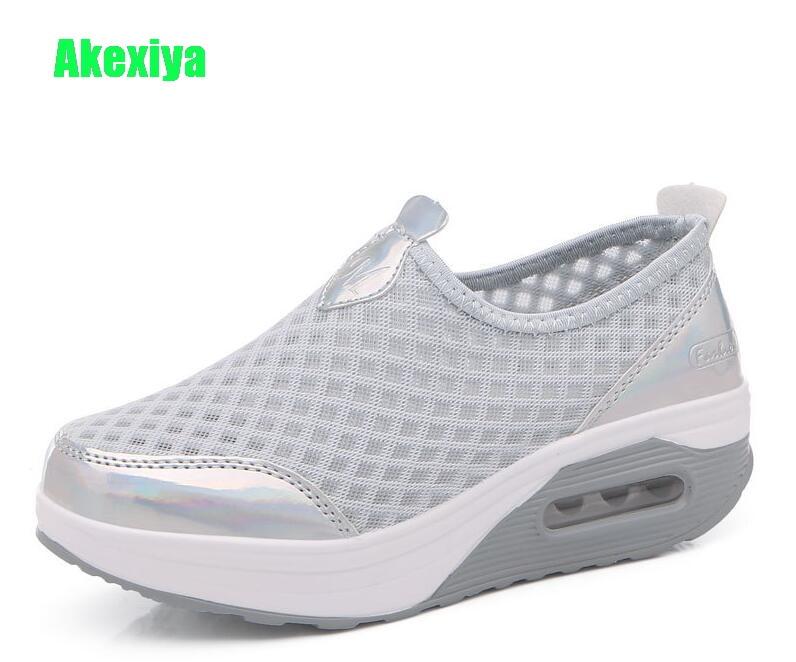 Akexiya Women Breathable Mesh Slip On Height Increasing Swing Shoes Outdoor Walking Sports Wedge Sneakers Platforms Shoes Size41