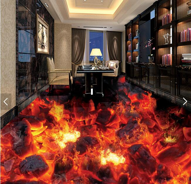 3d flooring custom waterproof wallpaper Flame burning coals of fire 3d bathroom flooring picture photo wallpaper for walls 3d b p r d hell on earth volume 8 lake of fire