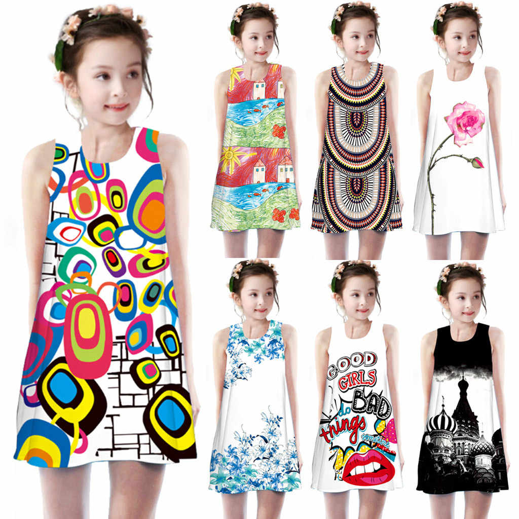 Toddler Girls Summer Princess Dress Kids Baby Printing Party Sleeveless Dresses High Quality Summer Outfits Match Sister clothes