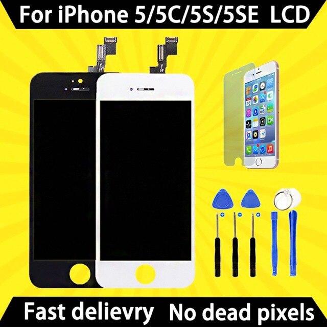 مصنع المبيعات AAA جودة الشاشة لفون 5 5 S 5C SE 5SE LCD شاشة عرض و قطع غيار محول رقمي اللمس شاشة إضافة الشحن إلى