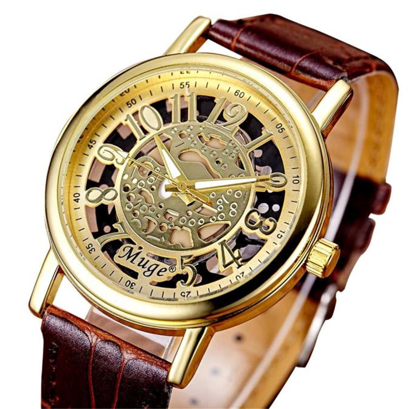1 Pair  Classic Hollow Skeleton Mechanical Orologio Uomo Clock Hours Couple Watch Leather Strap Wrist Watch Men Women Watches