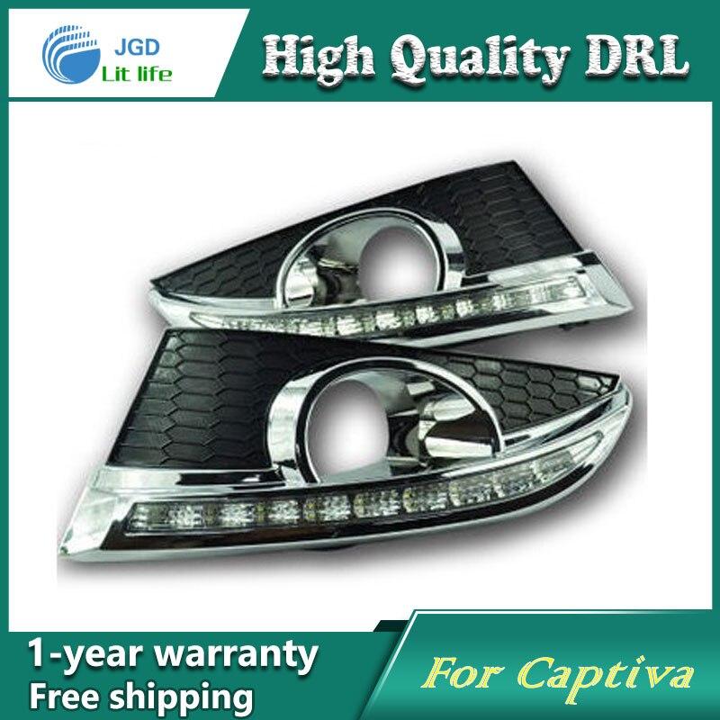 Frete grátis! 12 V 6000 k LED DRL Daytime running luz para Chevrolet Captiva 2011-2013 nevoeiro quadro lâmpada luz de Nevoeiro luz Car styling