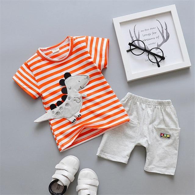 Newborn Cartoon Striped Clothes Suit for Baby Boys 2Pcs 1