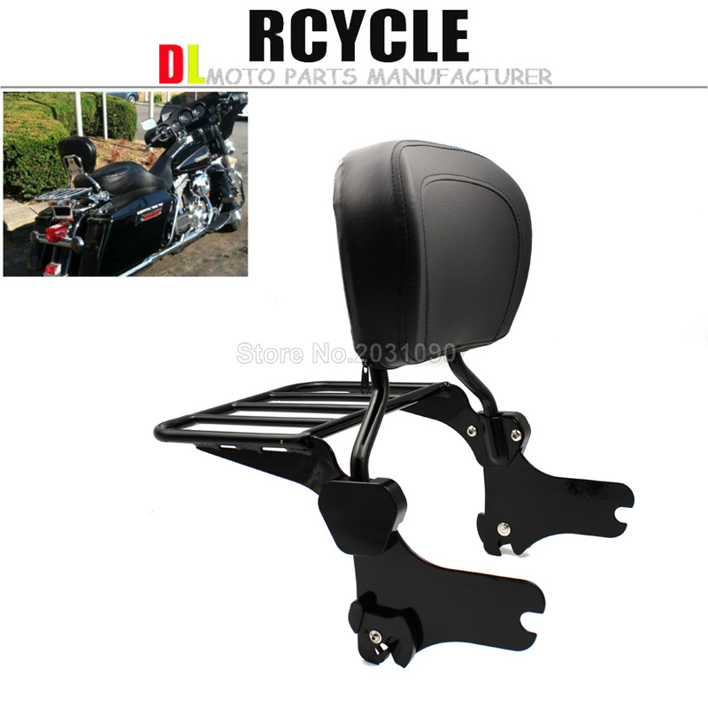 US $116 52 5% OFF|Backrest Sissy Bar Set W/ Luggage Rack For Harley Road  King Street Glide Electra Classic FLHT FLHX HD Touring Models-in Covers &