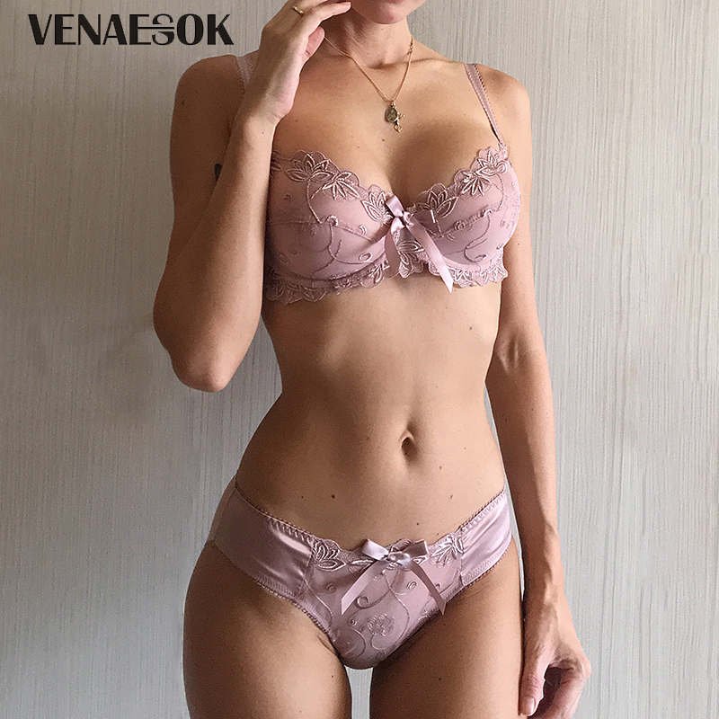 Buy New Embroidery Blue Underwear Set Women Lace Lingerie Bra Panty Sets 38 40 42 Sexy Ultrathin Transparent Bra Set Plus Size