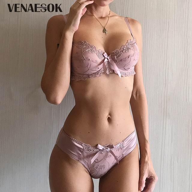 bbb00d51c4 New Embroidery Blue Underwear Set Women Lace Lingerie Bra and Panty Sets 38  40 42 Sexy