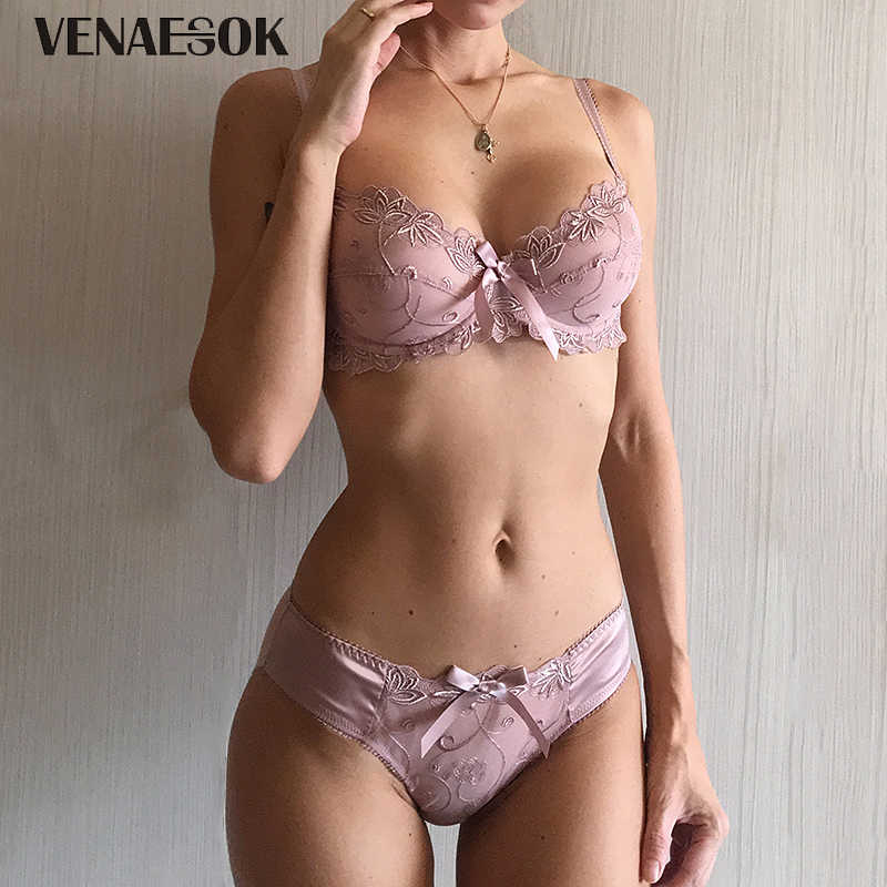 e48544397f8 New Embroidery Blue Underwear Set Women Lace Lingerie Bra and Panty Sets 38  40 42 Sexy