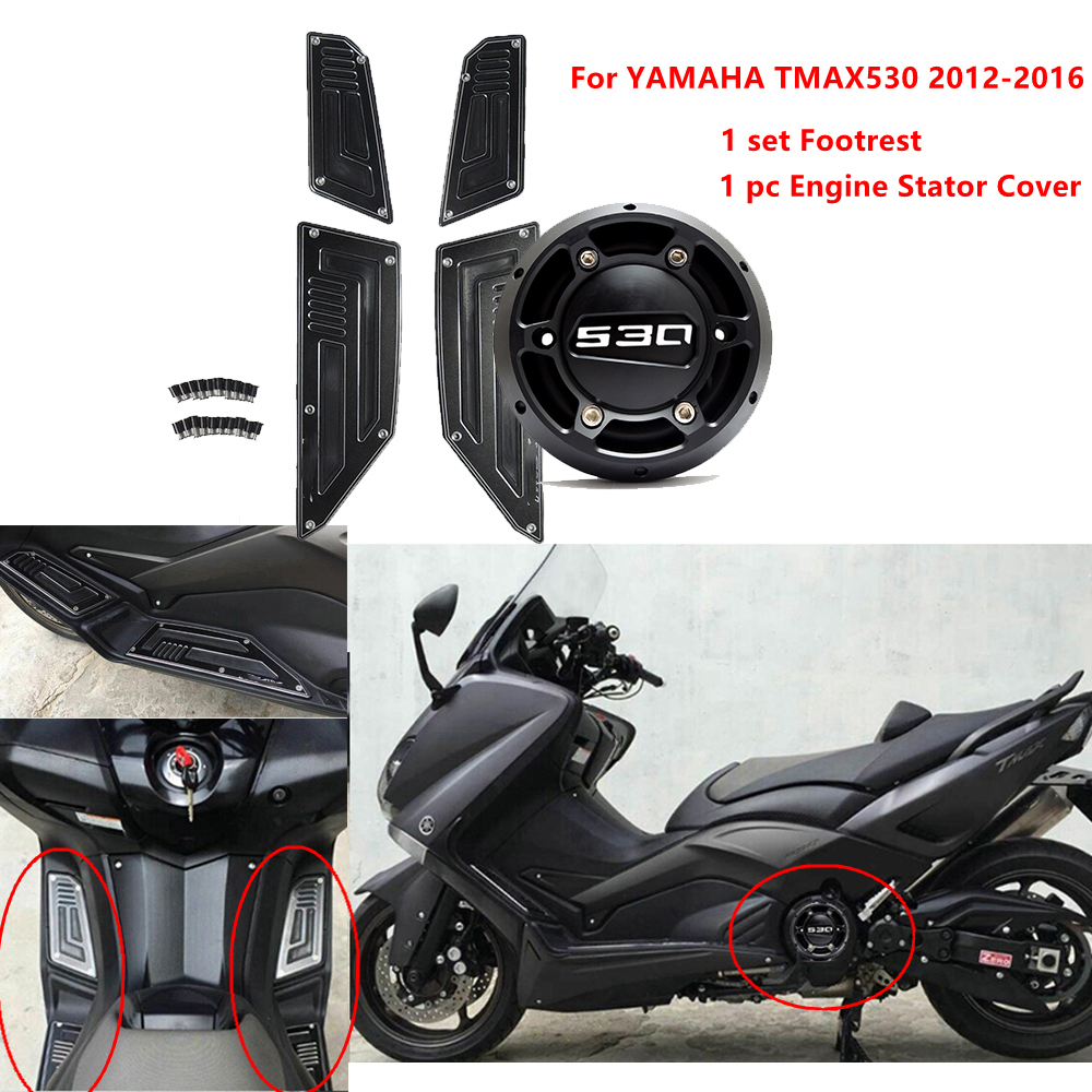 KEMiMOTO-TMAX-530-2013-2014-2015-Accessories-Engine-Stator-Cover-Protector-1-set-Footrest-for-Yamaha