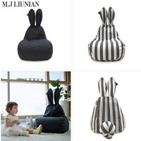 Hot Children Simple Stripes Sofa Newest Rabbit Baby Chair Seat With Filler High Quality Kids Sofas Seats Casual Bean Bag