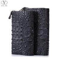 Yinte Для мужчин S клатч Женские Кошельки кожа Бизнес кошелек черная сумка Паспорт Кошелек Для мужчин держателя карты крокодиловый принт сумк