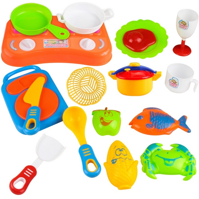 US $4.23 |17pcs Plastic Kids Children Kitchen Utensils Food Cooking Pretend  Play Set Toy Cook Cosplay Safety gift for kid great-in Kitchen Toys from ...