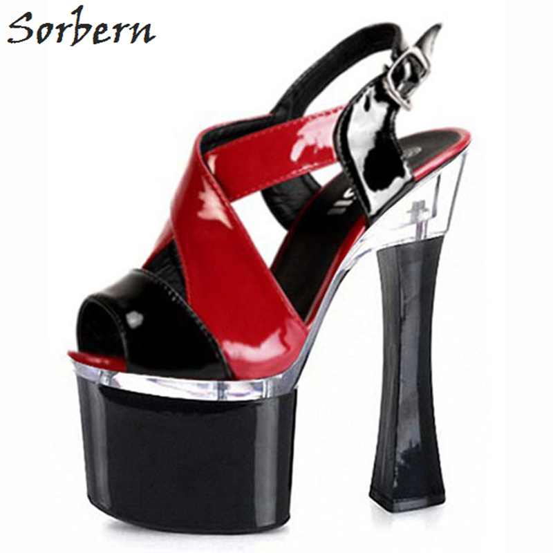 Sorbern Sandals Women Shoes 2018 Ladies Party Sandals High Heels Sandals Women Platform Buckle Strap Peep Toe Sandale Shoes 6starhobby 3d wooden propeller beech propeller 28b 28 10 28x10 for rc gasoline petrol airplane