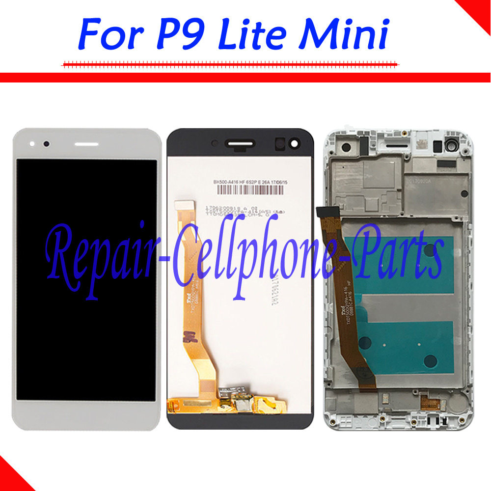 5.0 Inch Gold / White / Black Full LCD DIsplay + Touch Screen Digitizer Assembly + Frame Cover For Huawei P9 Lite Mini