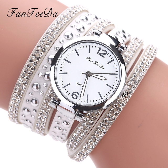 FanTeeDa Brand Top Luxury Ladies Watches Women PU Leather Strap Quartz Wristwatc