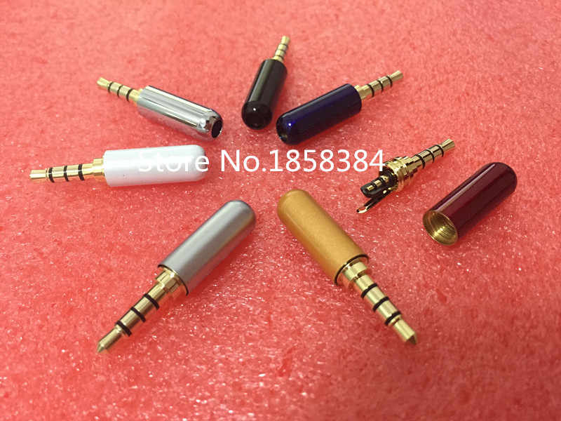 3.5mm 4 Pole Audio Plug Male Headphone Jack with Clip 3.5 mm Audio Connector For 4mm Cable Adapter