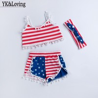 EMS DHL Free Shipping Kids Baby Girls Infants Summer Suit American 4th Of July Fourth Flag