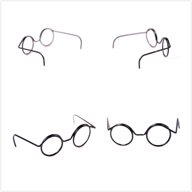 2PCS Top Selling Fashion Round Frame Lensless Retro Cool Doll Glasses For BJD Doll 1/6 30cm Doll Accessories