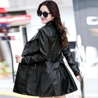 Autumn And Winter Female Korean Version Was Thin With Cotton Pu Leather Washed Leather Coat Large