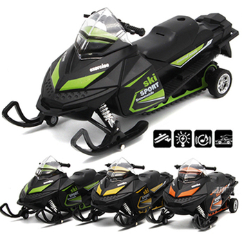 Pull Back Snowmobile Car Toy with Light Music Diecast Vehicle Snow MOTO Model Toys for Children Gift dinosaur model pull back diecast model cars toy tyrannosaurus triceratops vehicle toys for children christmas gift pullback car