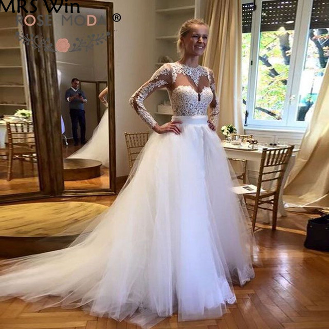 c4a7c9d01125 Sheer O Neck Long Lace Sleeves Sheath Wedding Dress with Removable Tulle  Skirt Cut Out Back Gold Belt Reception Dress