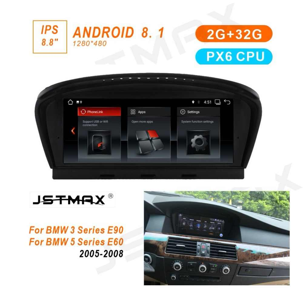 """JSTMAX 8,8 """"ips Android 8,1 PX6 автомобиль радио мультимедиа gps плеер для BMW 5 серии E60 E61 E63 E64 E90 E91 E92 CCC CIC системы"""