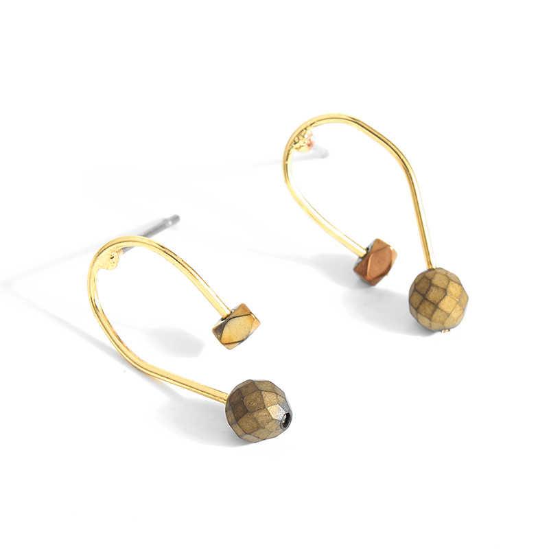 2017 Baru Kedatangan Minimalis Batu Stud Anting-Anting Perhiasan Emas Tembaga Geometris Stud Anting-Anting untuk Wanita Fashion Perhiasan Brincos