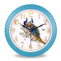 Plastic Peacock Hanging Wall Clock Flower Pvc Needle Mute Modern Watch Chinese Clock Home Decor Wanduhr Craft Clock Faces 50w123