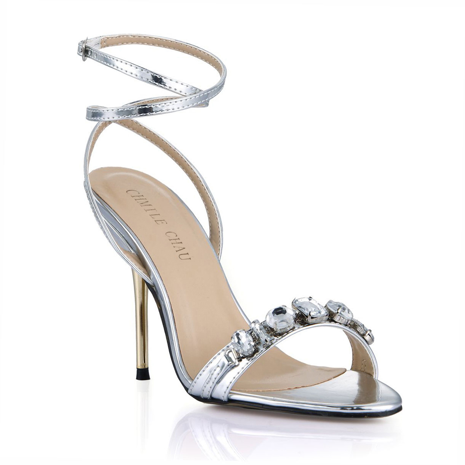 CHMILE CHAU Bridals Wedding Party Shoes Women Stiletto High Heels  Rhinestone Crystal Ankle Strap Sandals Zapatos Mujer 3845C i14-in High Heels  from Shoes on ... 3b59a64df30b