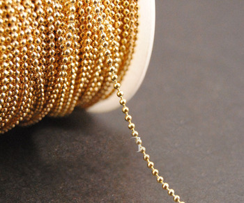 Iron Metal KC Gold Plated  1.2/1.5/2/2.4/3.2/4.2mm Ball Beads Jewelry Links 100 Meters/Troll Fashion Necklace Chains