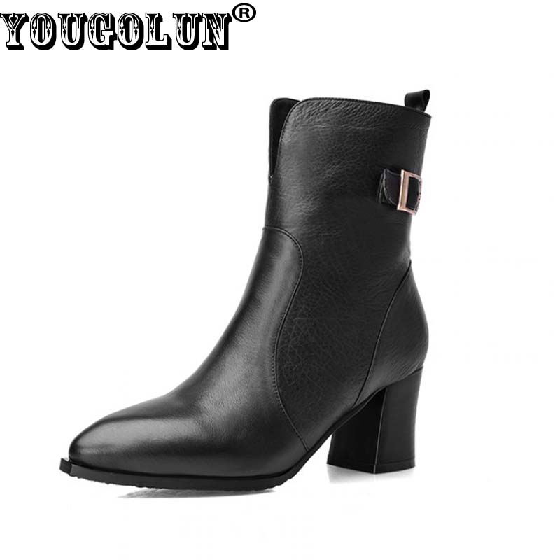 YOUGOLUN Autumn Winter Women Ankle Boots Genuine Leather Thick Heel 6.5 cm High Heels Black Buckle Pointed toe Zip Shoes #Y-258 women spring autumn thick high heel genuine leather pointed toe side zipper buckle fashion ankle martin boots sxq0806