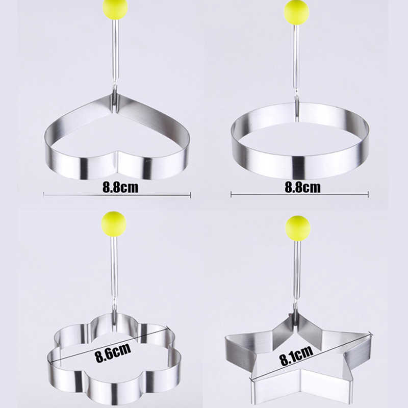 Useful Egg Mold 4 Pcs/lot  Stainless Steel Omelette Mould Device Love Surprise Eggs Model Ring Set Heart Shape Styling Tools gh
