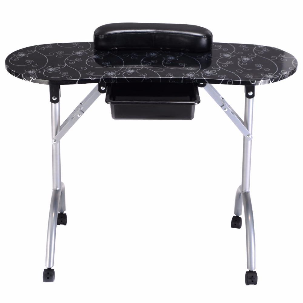 Giantex White Manicure Nail Table Portable Station Desk Spa Beauty Salon Furniture Equipment Modern Folding Nail Tables HB84505