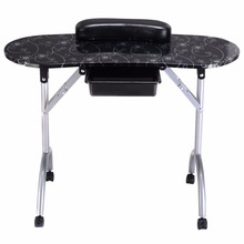 Giantex White Manicure Nail Table Portable Station Desk Spa Beauty Salon Furniture Equipment Modern Folding Nail Tables HB84505(China)