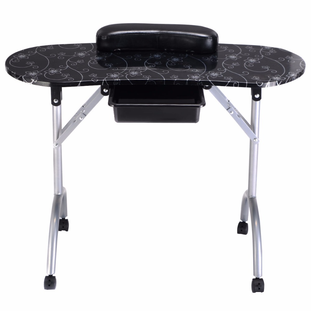 Giantex White Manicure Nail Table Portable Station Desk Spa Beauty Salon Furniture Equipment Modern Folding Nail Tables HB84505