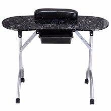 Giantex White Manicure Nail Table Portable Station Desk Spa Beauty Salo