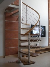 Custom high end decorative metal railing spiral staircase for sale