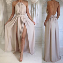 Женское длинное пляжное платье бохо, белое Элегантное коктейльное платье с открытыми плечами, вечерние платья макси, лето 2019
