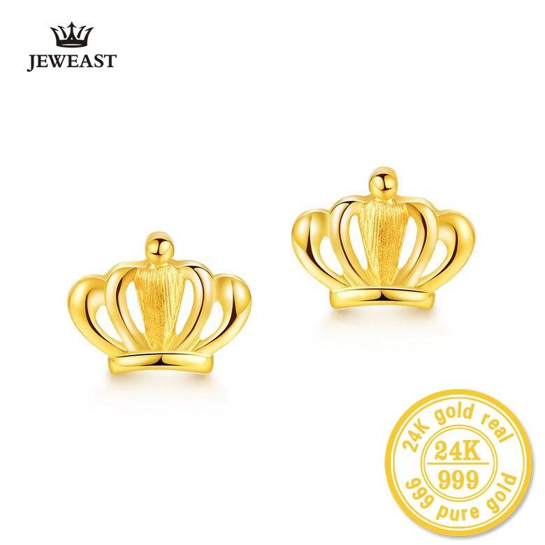 24 К из чистого золота корона форма золото Серьги Queen 999 Solid Gold ювелирные изделия тонкой Топ Горячая распродажа! Новинка 2017 Подарок женщине для