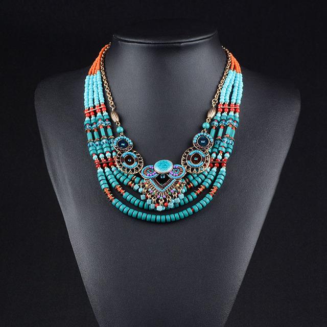 Etnicos bohemios colar 2016 contas collares collier ethnique colares declaração boho chique jóias boêmio colar de contas