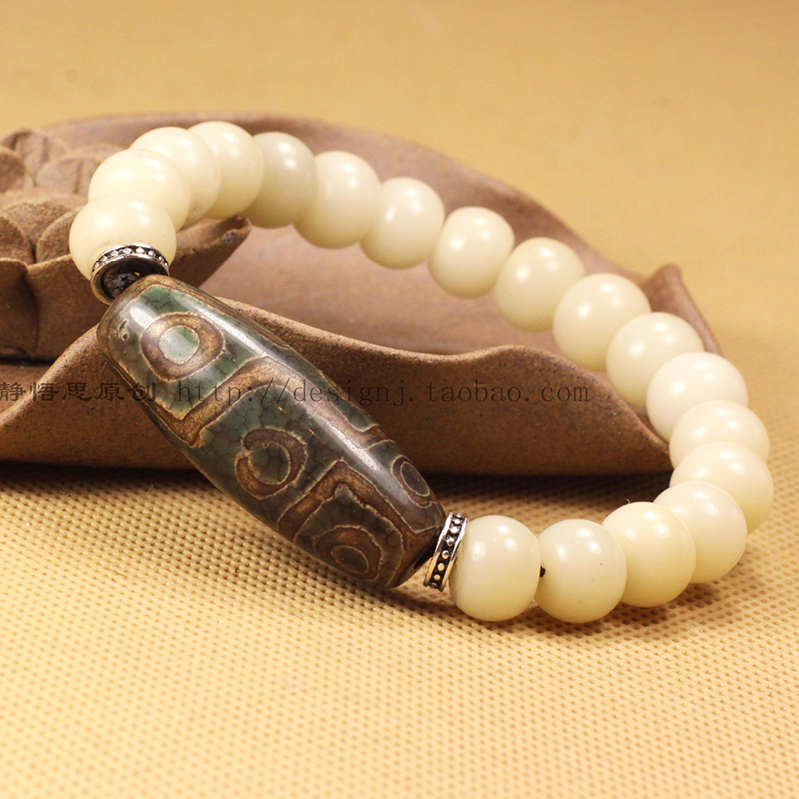Tibetan Style Natural White Bodhi Root Match Lapis And Nine Eye Dzi Stone Bracelet For Man And Woman Jewelry Free Shipping