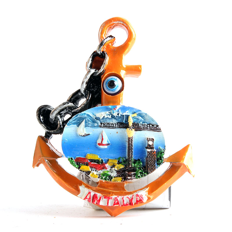 Fridge magnet antalya turkey anchor design tourist travel souvenir 3D