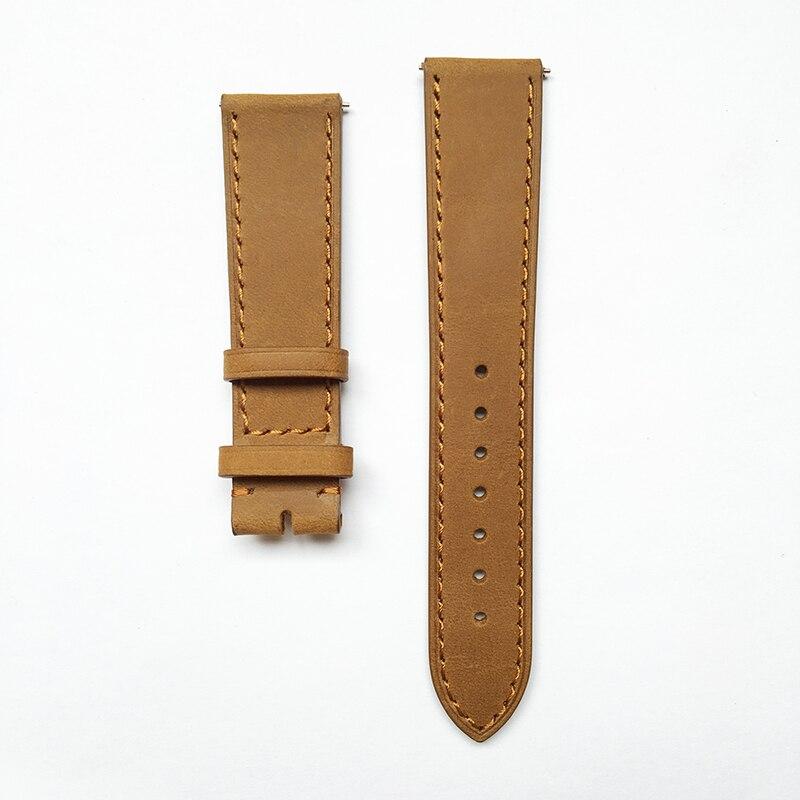 Bonne qualité bracelet de montre en cuir véritable bracelets de montre 20mm boucle ardillon et fermoir pliant bracelet de montre coloré noir brun Tan café