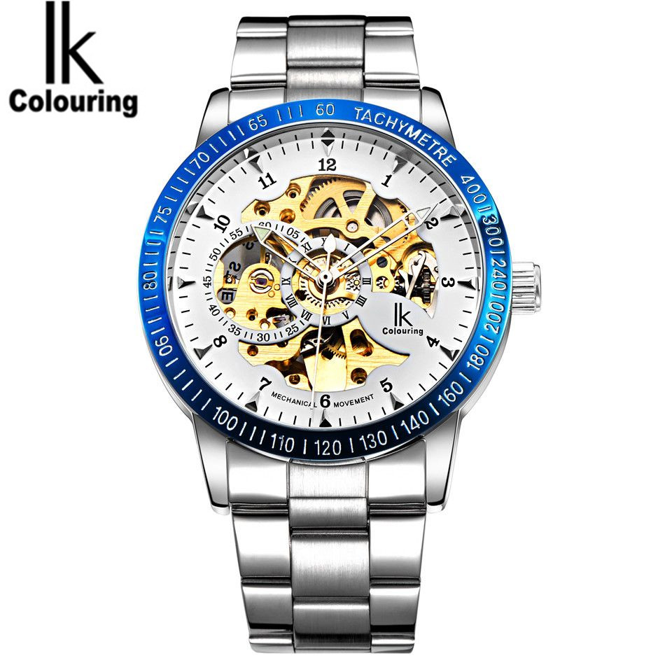 IK Coloring Watches Top Brand Luxury Orologio Uomo Men's Skeleton Dial Auto Mechanical Wristwatch Original Box Free Ship original mg orkina orologio uomo luxury day flywheel automatic mechanical watch wristwatch gift box free ship