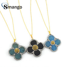 5Pieces,  Women Fashion The Flower Shape CZ Prong Setting Necklace and Pendant,3 Colors,Can Mix