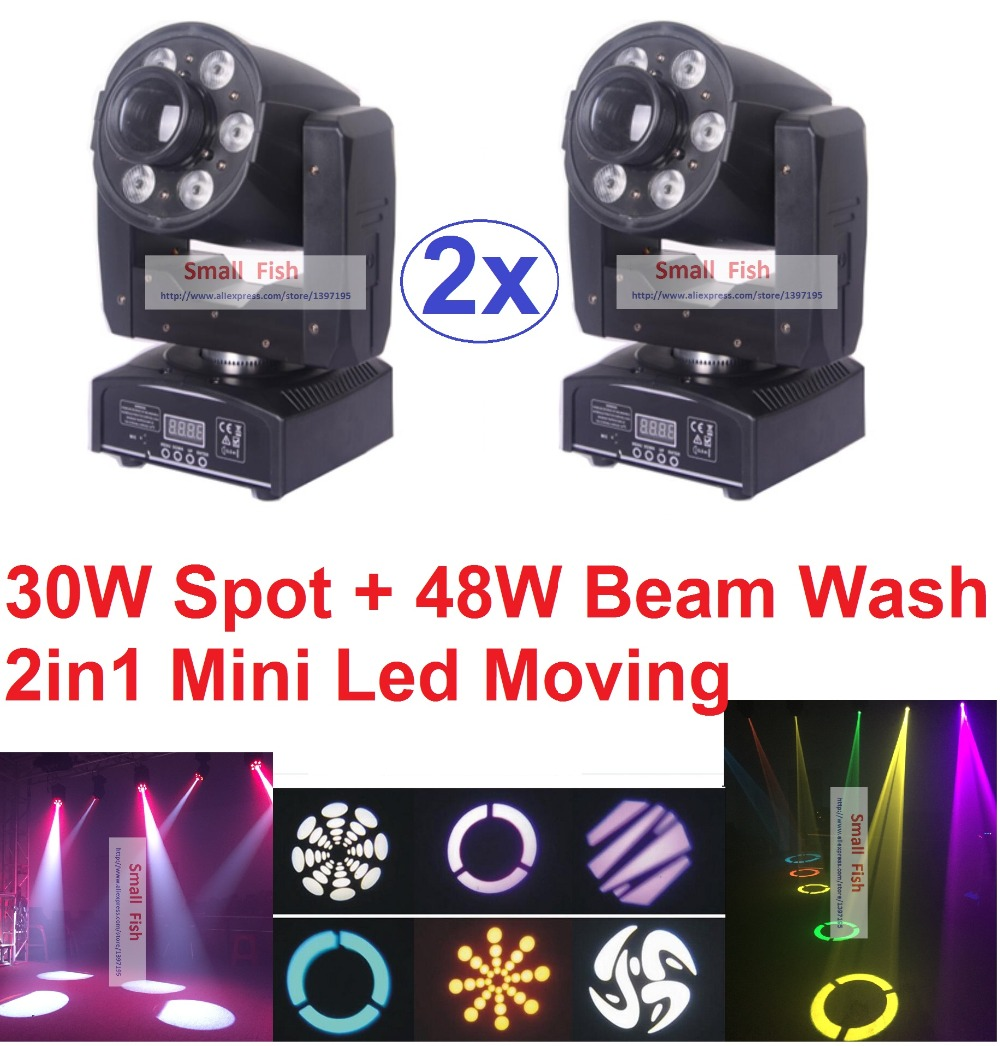 2xLot 2016 White 30W LED Spot Moving Head Light + 48W RGBW Led Beam Wash Strobe Par Led USA Luminums DJ Disco DMX Control Lights