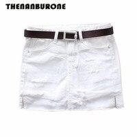 THENANBURONE Sexy Women White Jean Skirt 2017 New Holes Mini Jeans Skirts Womens Denim Plus Size
