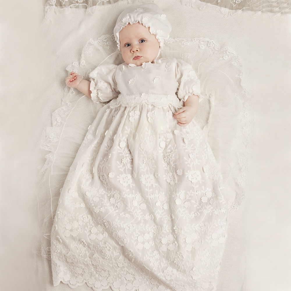 With Hat Baby Girl Baptism Dresses A-line Puff Three Quarter Sleeve O-neck Appliques Baby Christening Gowns Vestidos Bebes Ninas puff sleeve round neck top