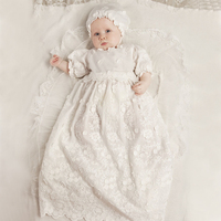 With Hat Baby Girl Baptism Dresses A line Puff Three Quarter Sleeve O neck Appliques Baby Christening Gowns Vestidos Bebes Ninas