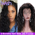Brazilian Water Wave Virgin Hair 360 Lace Frontal With Bundles Pre Plucked Natural Hair Line Adjustable Straps Human Hair Weave