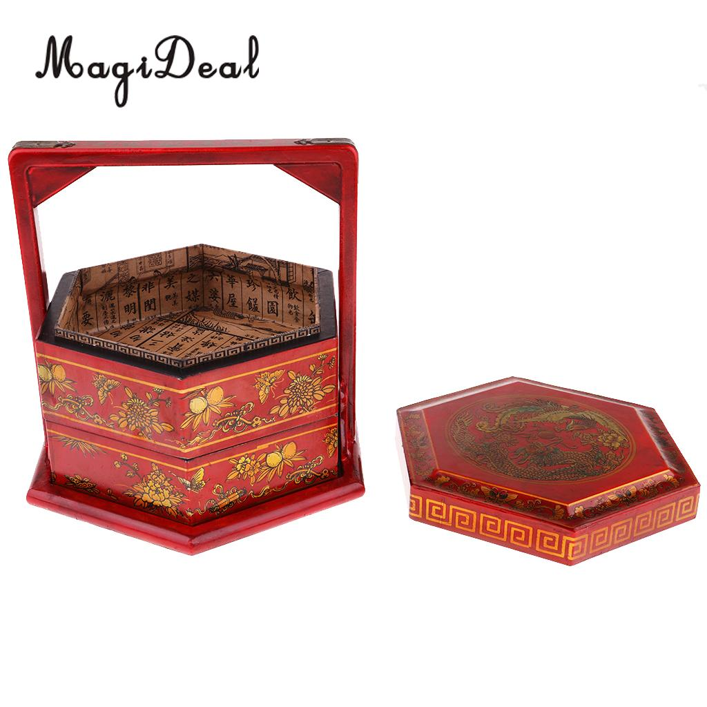 Collectible Antique Chinese Wooden Food Basket Container Box Home Decoration 23x23x25cm